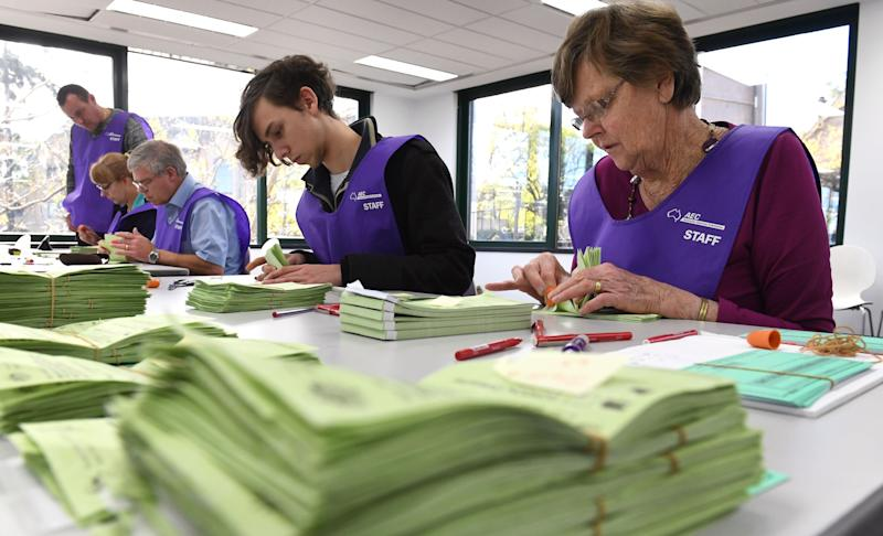 Australian Electoral Commission staff count votes in the 2016 Australian Federal Election. Source: Getty