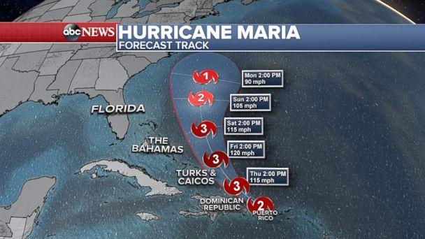 PHOTO: Hurricane Maria forecast tracker. (ABC News)