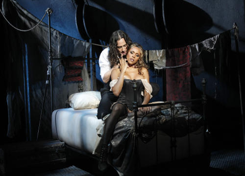 "This theater publicity image released by The Hartman Group shows Constantine Maroulis, left, and Deborah Cox during a performance of ""Jekyll & Hyde"" playing at the Marquis Theatre in New York. Producers announced Friday, May 3, 2013, that the Broadway production will play the final performance of its limited Broadway engagement on Sunday, May 12, 2013. (AP Photo/The Hartman Group, Chris Bennion)"