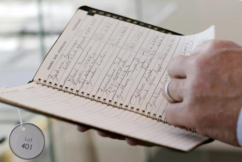 This Jan. 16, 2013 photo shows the address book of Studio 54 co-owner Steve Rubell in West Palm Beach, Fla. Memorabilia from the famed 1970s New York nightclub Studio 54 is hitting the auction block in Florida. The private collection of co-founder Steve Rubell is being sold Saturday in West Palm Beach. (AP Photo/Alan Diaz)