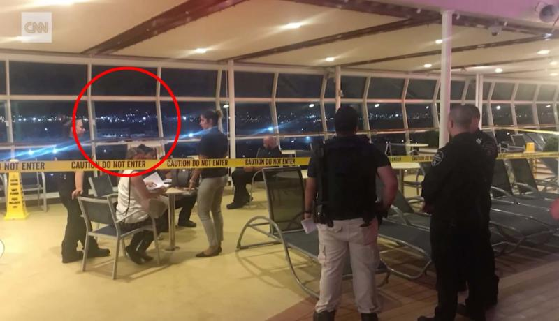 Circled is the open window where Chloe is understood to have fallen from on the Royal Caribbean cruise.