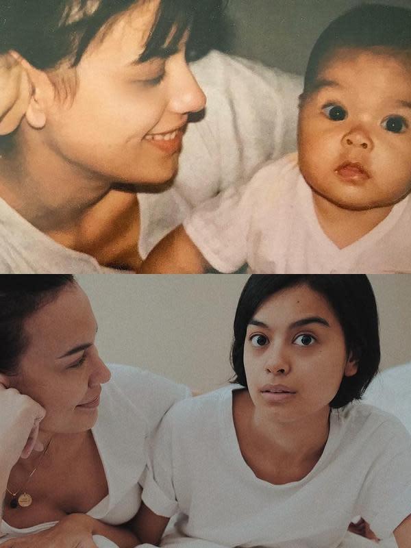 Saat putrinya ulang tahun, artis kelahiran Berlin Barat 50 tahun silam itu terlihat beberapa kali membagikan potret masa kecil Eva Celia. Kolase foto saat kecil dan usia 26 tahun. (Instagram/sophia_latjuba88)