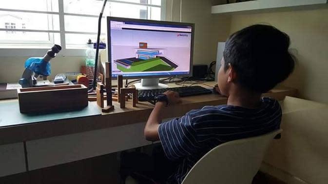 Airiel Haziq, bocah 12 tahun yang sudah mahir jadi arsitek (Sumber: Facebook/Viral Media Johor)