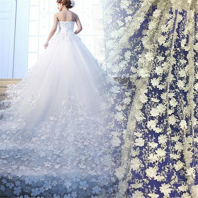 Gorgeous Embroidered Floral Soft Tulle Lace Fabric Wedding Gowns Coutures Prom Dress 1 yard Vintage Style Flowers Embroidery Fabric