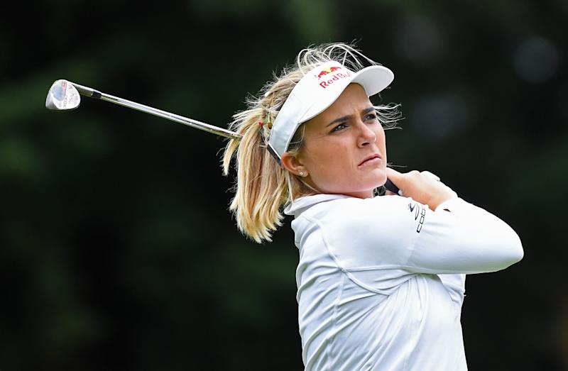 WOBURN, ENGLAND - JULY 31: Lexi Thompson of The United States of America plays a shot on the 9th hole during the Pro-Am prior to the AIG Women's British Open at Woburn Golf Club on July 31, 2019 in Woburn, England. (Photo by Warren Little/WME IMG/WME IMG via Getty Images)
