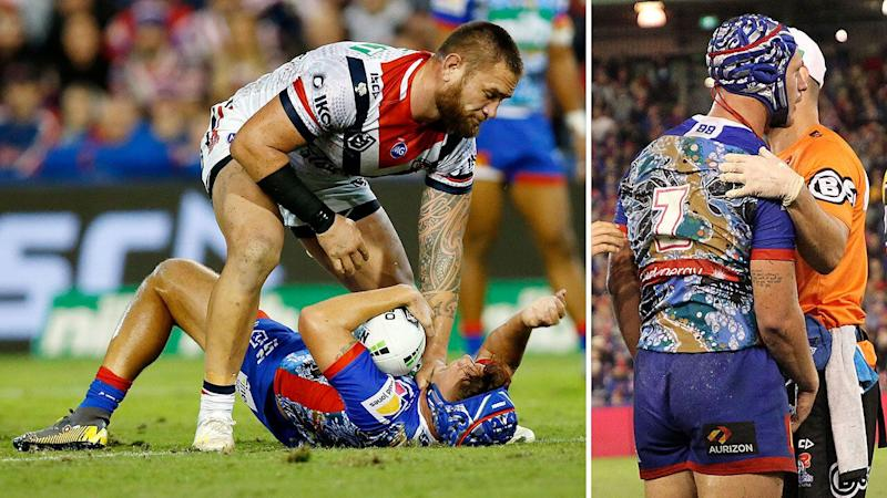 Kalyn Ponga was taken out of the game by Jared Waerea-Hargreaves' hit. Pic: Getty/AAP
