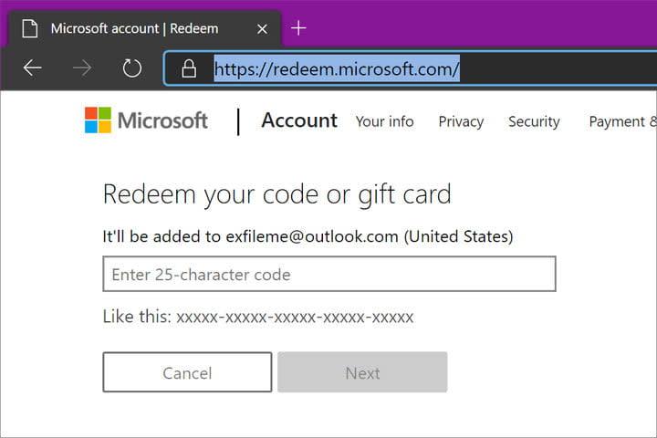 Web Browser Redeem Xbox Code