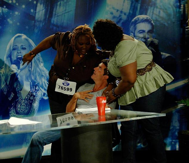 Miami Audition:  Brittany Wescott and Corliss Smith with Judge Simon Cowell on the 7th season of American Idol.