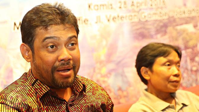 "Presiden KSPI Said Iqbal dalam diskusi publik bertajuk ""Partai Politik Buruh, Melawan Arus Deparpolisasi"" di Jakarta, Kamis (28/4). Diskusi membahas wacana berdirinya partai politik sebagai alat politik perjuangan buruh. (Liputan6.com/Immanuel Antonius)"