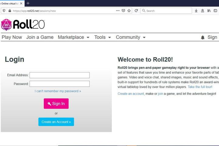 Image of Roll20 Homepage