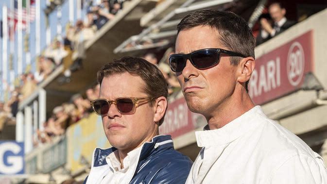 Matt Damon dan Christian Bale di lokasi syuting Ford V Ferrari. (Foto: IMDb/ 20th Century Fox)