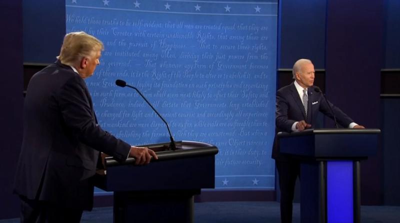 2020年美國總統大選首場電視辯論會登場。(圖/AP)
