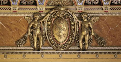 Detailed work from the recently restored proscenium is seen during the renovation of the Saenger Theater in Downtown New Orleans on Wednesday, May 22, 2013. (AP Photo/Gerald Herbert)