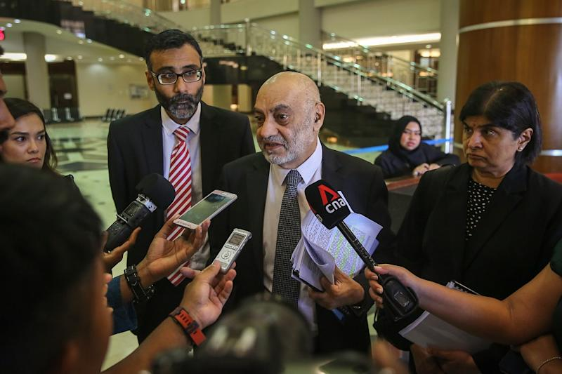 Lawyer Datuk Gurdial Singh Nijar speaks to reporters at the Kuala Lumpur High Court Complex January 24, 2020. — Picture by Yusof Mat Isa