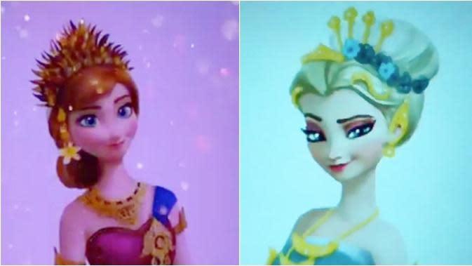 Viral Editan Tokoh Film 'Frozen' Elsa dan Anna Versi Indonesia, Bikin Kagum