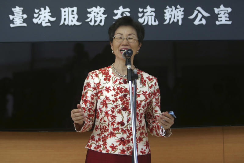 Katharine Chang, chairperson of Straits Exchange Foundation, speaks during an opening ceremony of the Taiwan Hong Kong Service Exchange Office, in Taipei, Taiwan, Wednesday, July 1, 2020. Taiwan officially opened the specialized office on Wednesday to support Hong Kong people seeking to move to Taiwan after China's passage of a national security law for Hong Kong. (AP Photo/Chiang Ying-ying)