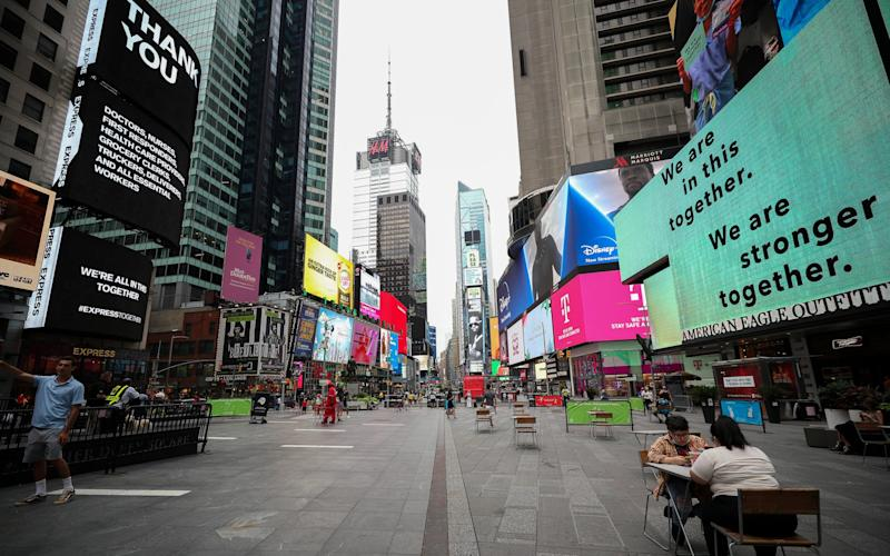 New York's Times Square is quiet during the pandemic - Tayfun Coskun/Anadolu Agency