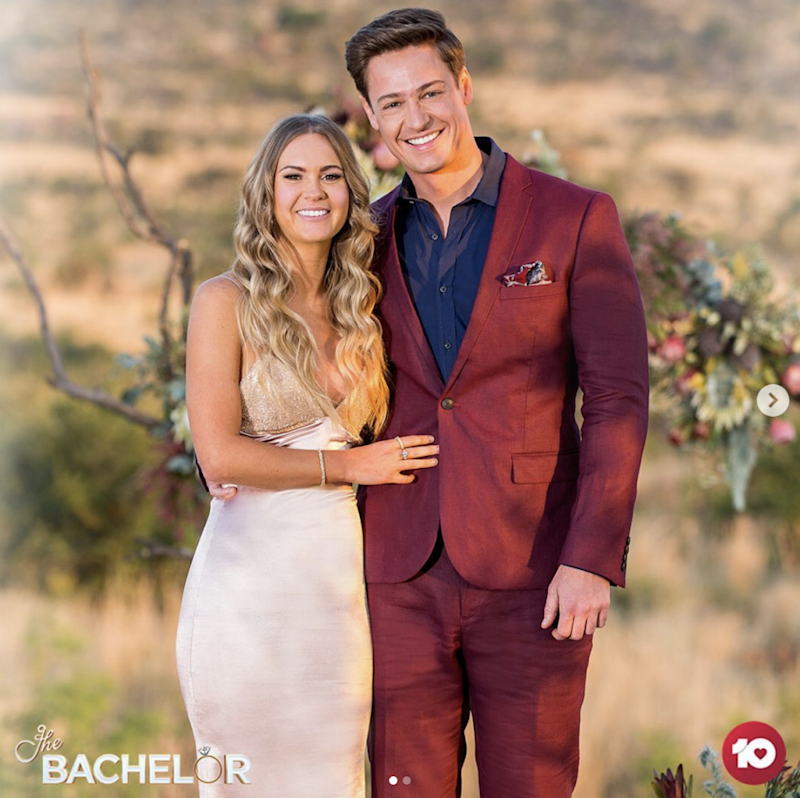 Chelsie McLeod pictured with Matt Agnew on the Bachelor finale