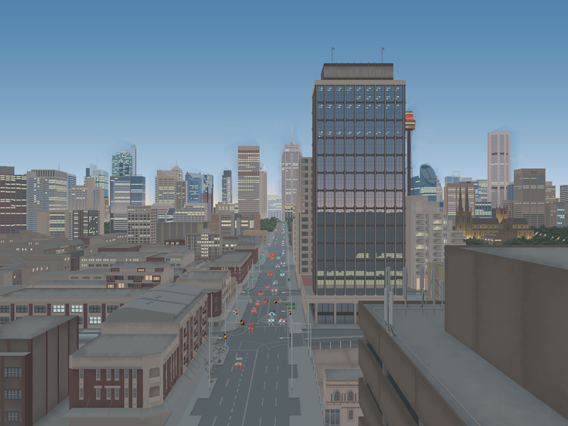 William Street in one of Xing's more detailed pieces. Drawn on MS Paint.