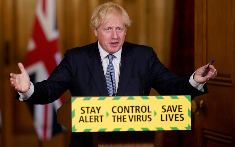 The Prime Minister Boris Johnson unveiled a new 'hands, face, space' slogan at the most recent coronavirus daily briefing. - Andrew Parsons/No10 Downing Street