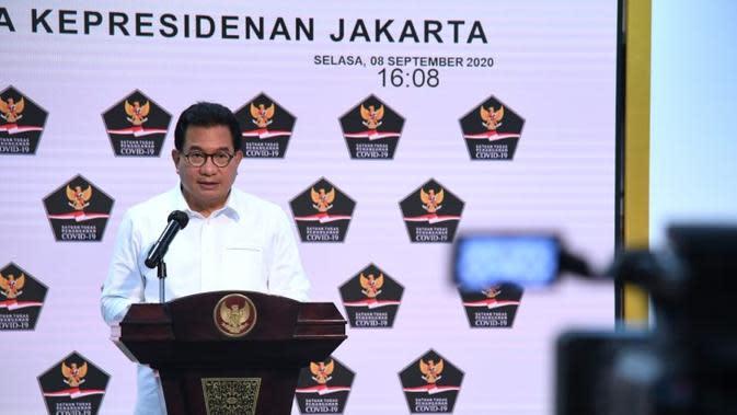 Juru Bicara Satgas Penanganan COVID-19 Wiku Adisasmito meminta semua pihak kampanyekan masker sebagai upaya melindungi diri dan orang lain di Kantor Presiden, Jakarta, Selasa (8/9/2020). (Biro Pers Sekretariat Presiden/Lukas)