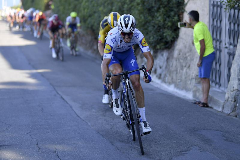 Julian Alaphilippe (Deceuninck-QuickStep) attacks in the final stages of the 2020 Milan-San Remo, ultimately earning second place