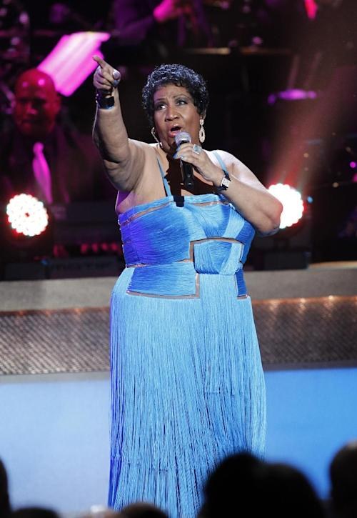 FILE - In this Jan. 14, 2012 file photo, singer Aretha Franklin performs during the BET Honors at the Warner Theatre in Washington. In a statement released on Monday, Jan. 23, her representative said that her wedding to Willie Wilkerson was not going to happen. (AP Photo/Jose Luis Magana, file)