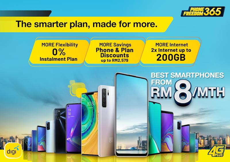 The improved PhoneFreedo 365 plans offer more flexibility, internet and savings when purchasing a new phone. — Picture courtesy of Digi.