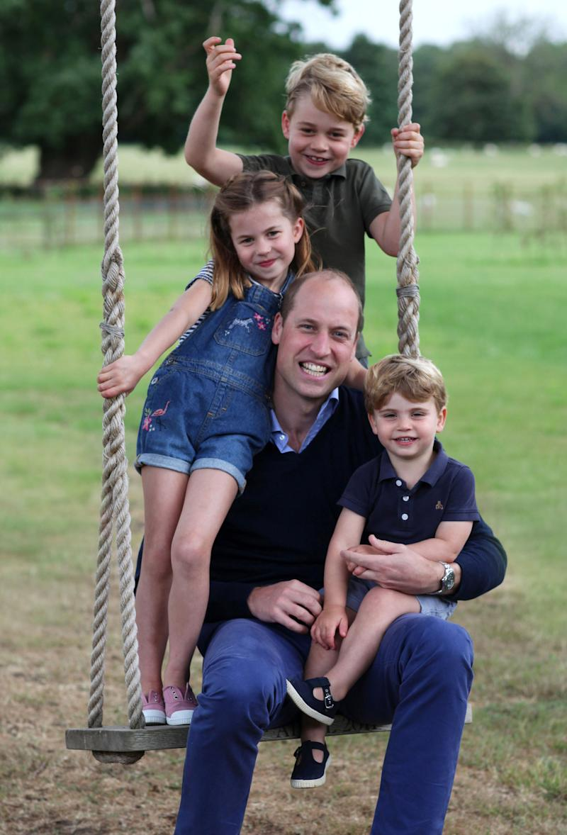 STRICTLY EMBARGOED UNTIL 2230 BST SATURDAY 20TH JUNE Copyright: Duke and Duchess of Cambridge. NEWS EDITORIAL USE ONLY. NO COMMERCIAL USE. NO MERCHANDISING, ADVERTISING, SOUVENIRS, MEMORABILIA or COLOURABLY SIMILAR. NOT FOR USE AFTER 31 DECEMBER, 2020, WITHOUT PRIOR PERMISSION FROM KENSINGTON PALACE. This photograph is provided to you strictly on condition that you will make no charge for the supply, release or publication of it and that these conditions and restrictions will apply (and that you will pass these on) to any organisation to whom you supply it. There shall be no commercial use whatsoever of the photographs (including by way of example only) any use in merchandising, advertising or any other non-news editorial use. The photographs must not be digitally enhanced, manipulated or modified in any manner or form and must include all of the individuals in the photograph when published. All other requests for use should be directed to the Press Office at Kensington Palace in writing. MANDATORY CREDIT: The Duchess of Cambridge. Undated handout photo released by Kensington Palace, which was taken by The Duchess earlier this month in Norfolk, of The Duke of Cambridge, Prince George, Princess Charlotte and Prince Louis in new pictures marking both his birthday and Father's Day. The Duke of Cambridge turns 38 on Sunday.