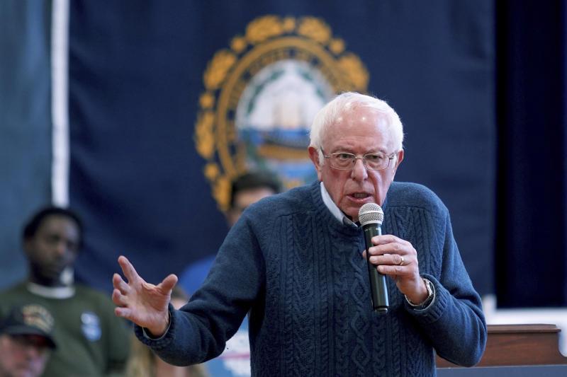 Democratic presidential candidate Sen. Bernie Sanders, I-Vt., speaks during a campaign stop, Saturday, Nov. 23, 2019, in Franklin, N.H. (AP Photo/Mary Schwalm)