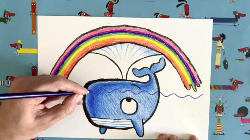 Rob Biddulph's blue whale drawing