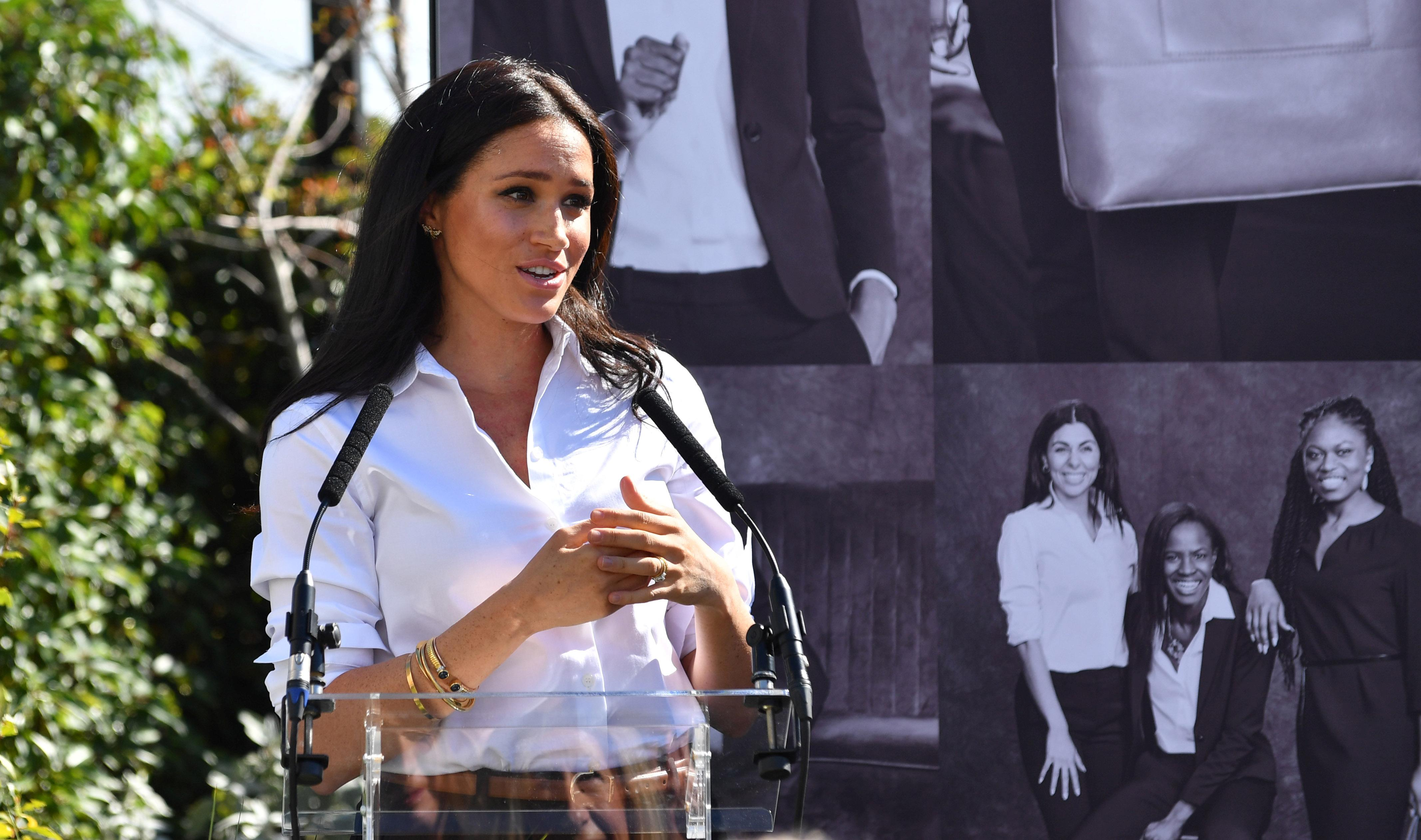 Britain's Meghan, Duchess of Sussex, attends the launching of the Smart Works capsule collection in London, Britain September 12, 2019. Mark Large/Pool via REUTERS