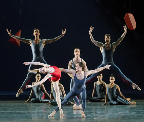 In this undated photo provided by American Ballet Theater, Natalia Osipova and Ivan Vasiliev lead the cast of Alexei Ratmansky's Piano Concerto #1. (AP Photo/American Ballet Theater, Gene Schiavone)