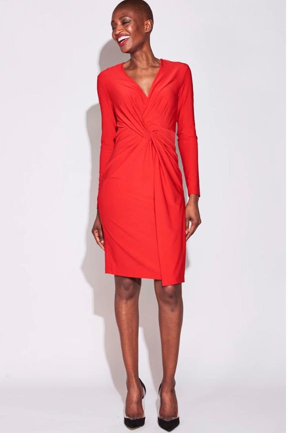 Model wears Serena Williams twist front dress