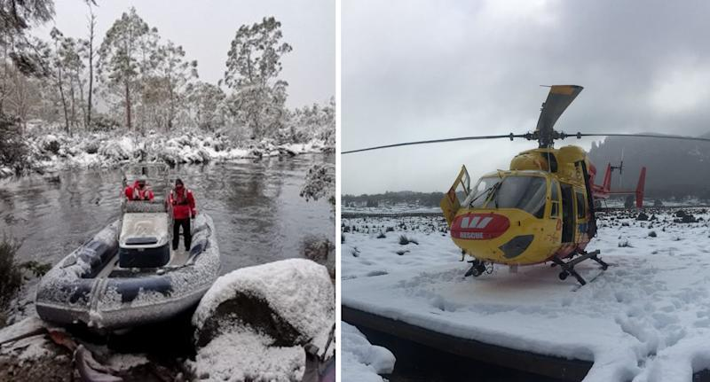Icy conditions slowed the search effort. Source: Tasmania polcie