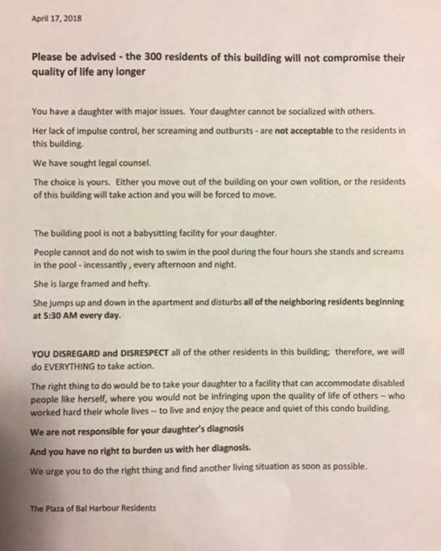 The appalling letter was shared on social media. Photo: Facebook