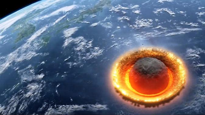 Ilustrasi tubrukan asteroid dengan Bumi (Discovery)