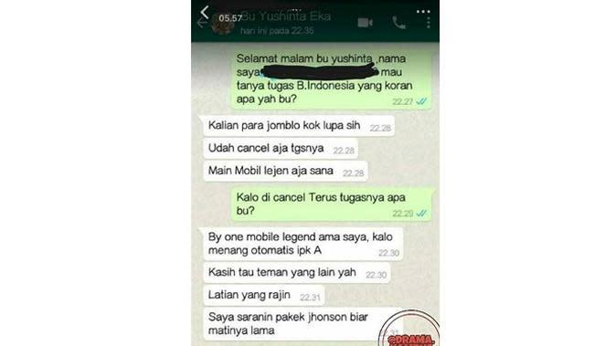 5 Chat Minta Tugas Ini Bikin Geleng Kepala Sekaligus Geregetan (sumber: Instagram.com/drama.kampus)