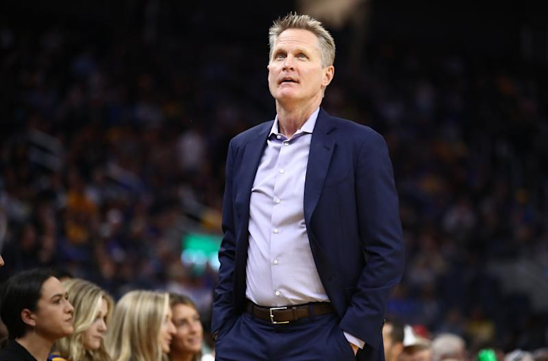 SAN FRANCISCO, CALIFORNIA - OCTOBER 05: Head coach Steve Kerr of the Golden State Warriors stands on the side of the court during their game against the Los Angeles Lakers at Chase Center on October 05, 2019 in San Francisco, California. NOTE TO USER: User expressly acknowledges and agrees that, by downloading and or using this photograph, User is consenting to the terms and conditions of the Getty Images License Agreement. (Photo by Ezra Shaw/Getty Images)