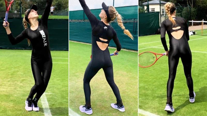 Eugenie Bouchard rocked the black catsuit during practice for Wimbledon. Images: Eugenie Bouchard/Instagram