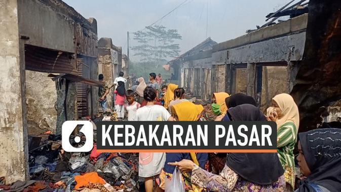 VIDEO: 250 Kios di Pasar Baros Pandeglang Ludes Terbakar
