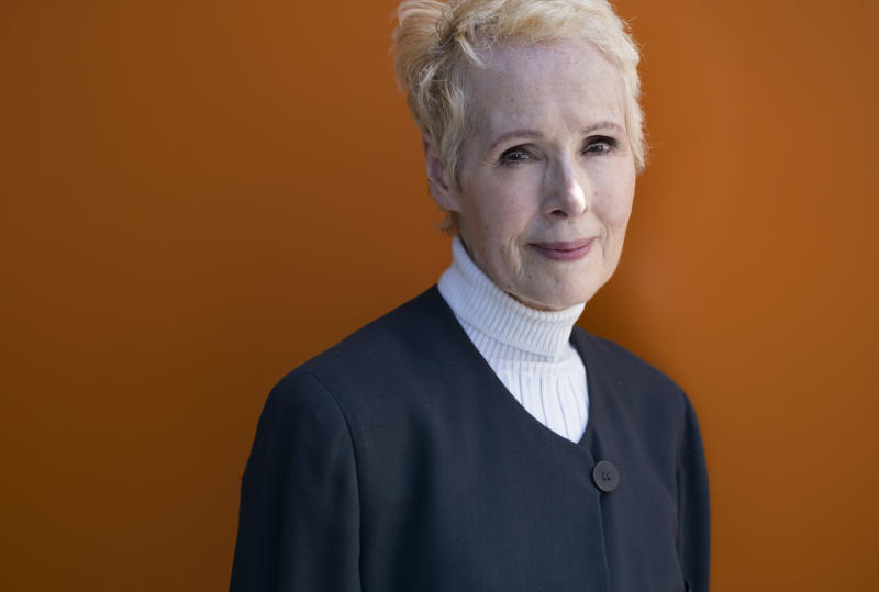FILE - In this June 23, 2019, file photo, E. Jean Carroll poses for a photo in New York. The latest lawsuit comes from Carroll, an advice columnist who filed a defamation case against President Donald Trump on Monday, Nov. 4, in New York City. (AP Photo/Craig Ruttle, File)