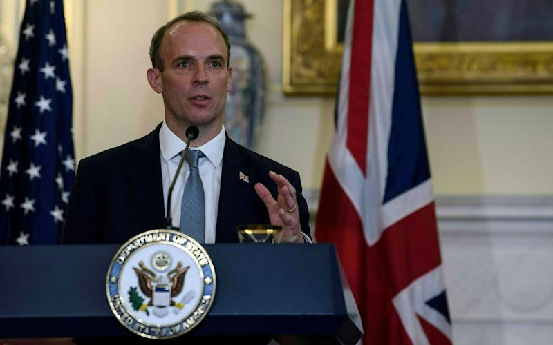 Dominic Raab visited Washington this week to speak with senior figures including US Secretary of State Mike Pompeo - Reuters