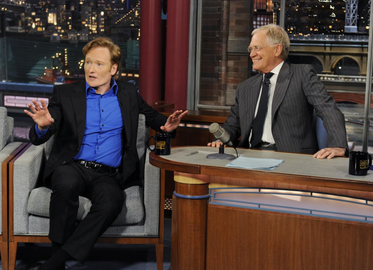 20 Classic 'Late Show' Moments We're Glad We Stayed Up For: Dave weighs in on the Conan/Leno mess in 2010; Conan appears on 'Late Show' in 2012