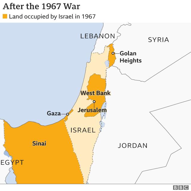 Peta wilayah setelah perang 1967