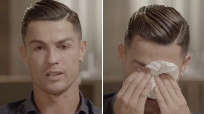 Cristiano Ronaldo became emotional during an interview with Piers Morgan. (Image: ITV)