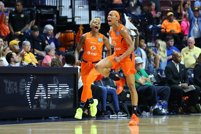UNCASVILLE, CT - SEPTEMBER 17: Connecticut Sun guard Jasmine Thomas (5) reacts after making a three point shot during game 1 of the WNBA semifinal between Los Angeles Sparks and Connecticut Sun on September 17, 2019, at Mohegan Sun Arena in Uncasville, CT. (Photo by M. Anthony Nesmith/Icon Sportswire via Getty Images)