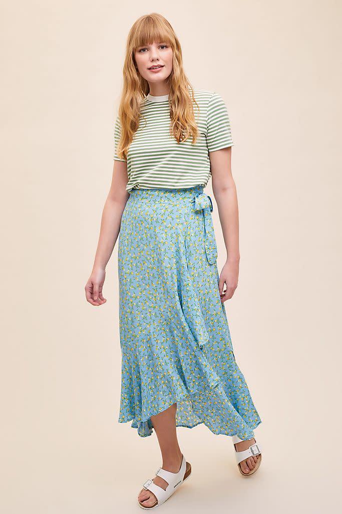 Faithfull The Brand Aubrie Ruffled-Printed Wrap Skirt (Anthropologie)