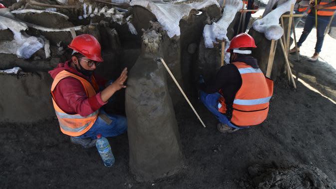 Ahli paleontologi dari Institut Antropologi Nasional bekerja menggali kerangka mammoth yang ditemukan di Pangkalan Militer Santa Lucia di Kotamadya Zumpango, Meksiko (8/9/2020). (AFP/Rodrigo Arangua)