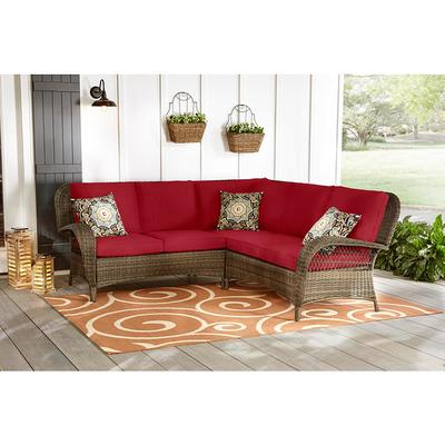 Hampton Bay Beacon Park 3 Piece Brown, For Living 3 Piece Wicker Patio Sectional Set With Cushions